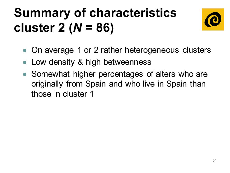 20 Summary of characteristics cluster 2 (N = 86) On average 1 or 2 rather heterogeneous clusters Low density & high betweenness Somewhat higher percen