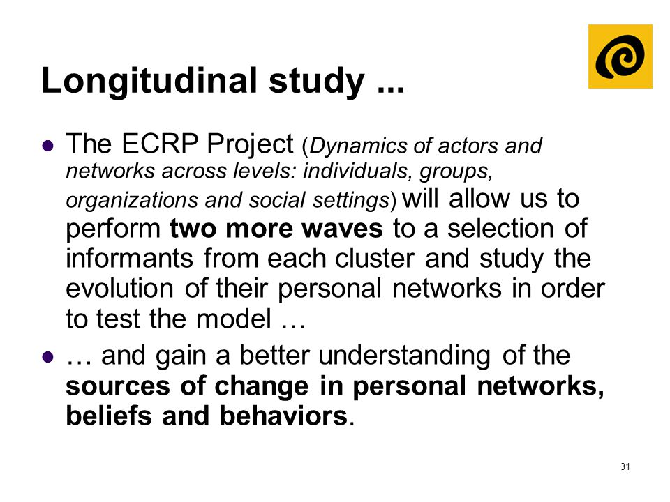 31 Longitudinal study... The ECRP Project (Dynamics of actors and networks across levels: individuals, groups, organizations and social settings) will