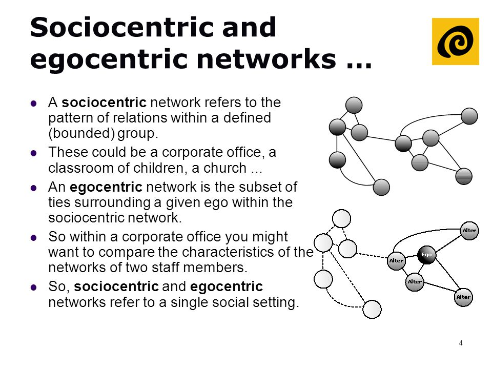 4 Sociocentric and egocentric networks … A sociocentric network refers to the pattern of relations within a defined (bounded) group. These could be a
