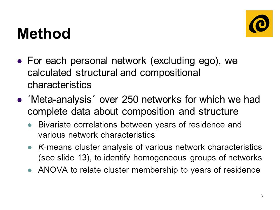9 Method For each personal network (excluding ego), we calculated structural and compositional characteristics ´Meta-analysis´ over 250 networks for w
