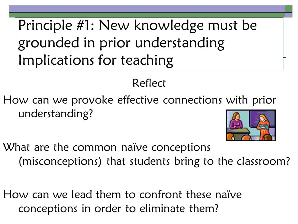 Principle #1: New knowledge must be grounded in prior understanding Implications for teaching Reflect How can we provoke effective connections with prior understanding.