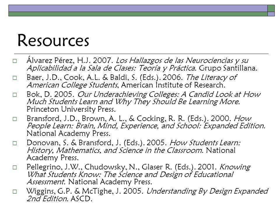 Resources  Álvarez Pérez, H.J. 2007.