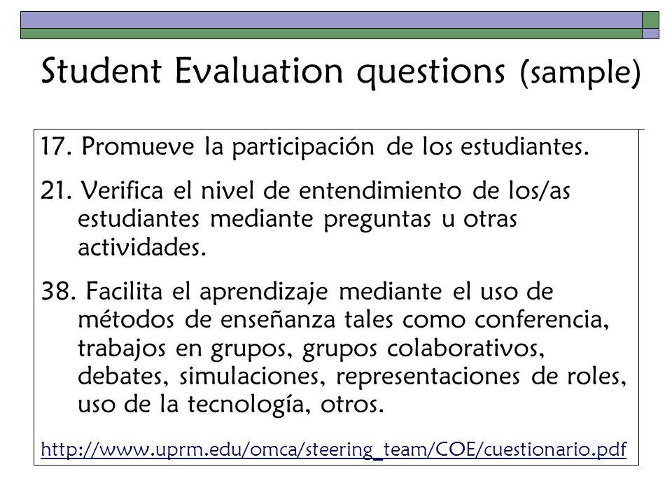 Student Evaluation questions (sample) 17. Promueve la participación de los estudiantes.