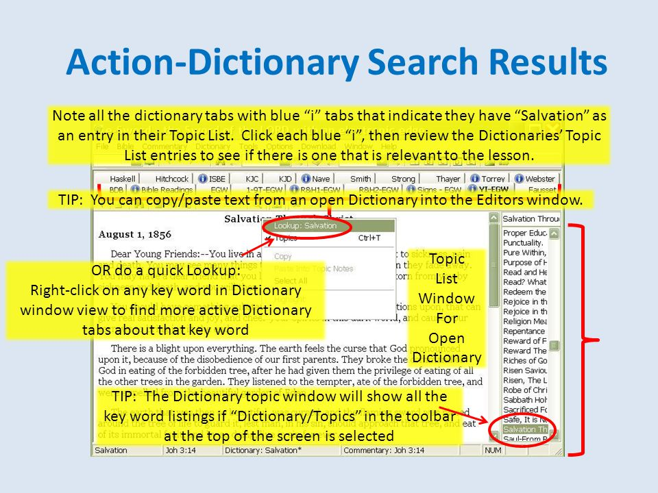 """Action-Dictionary Search Results Note all the dictionary tabs with blue """"i"""" tabs that indicate they have """"Salvation"""" as an entry in their Topic List."""