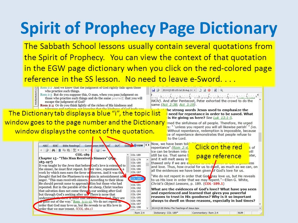 Spirit of Prophecy Page Dictionary Click on the red page reference The Sabbath School lessons usually contain several quotations from the Spirit of Prophecy.