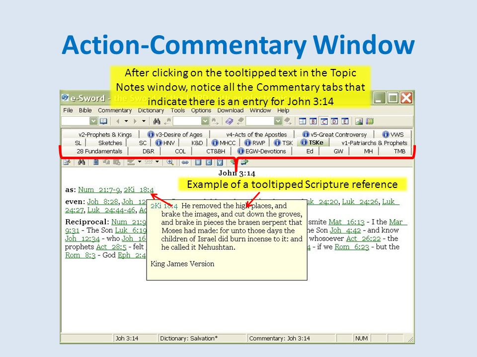 Action-Commentary Window After clicking on the tooltipped text in the Topic Notes window, notice all the Commentary tabs that indicate there is an entry for John 3:14 Example of a tooltipped Scripture reference