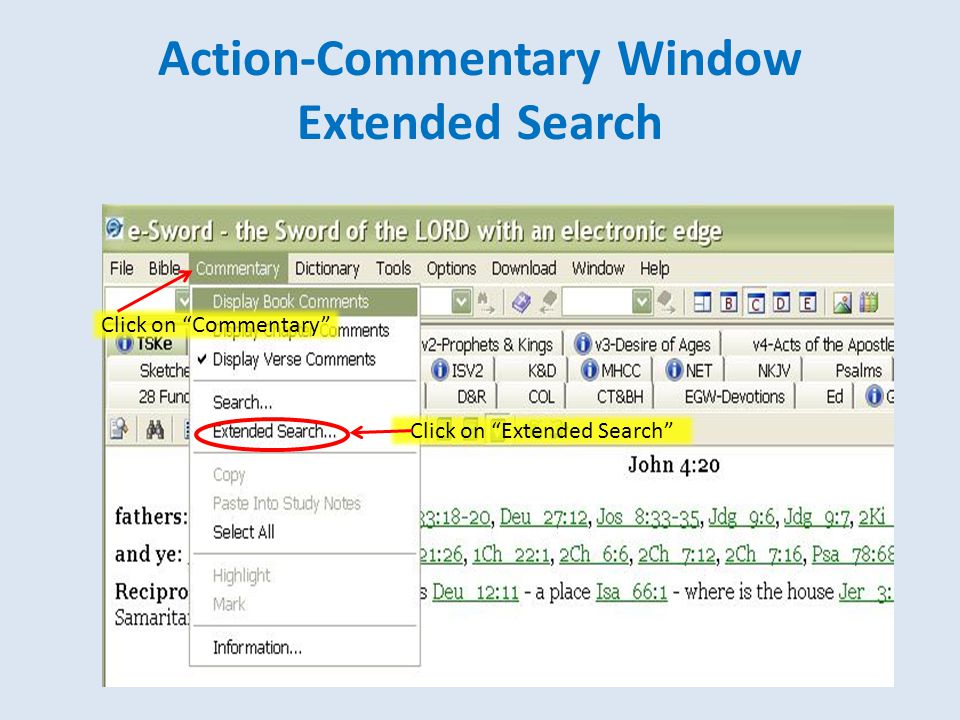 Action-Commentary Window Extended Search Click on Commentary Click on Extended Search