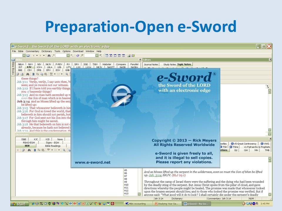 Preparation-Open e-Sword