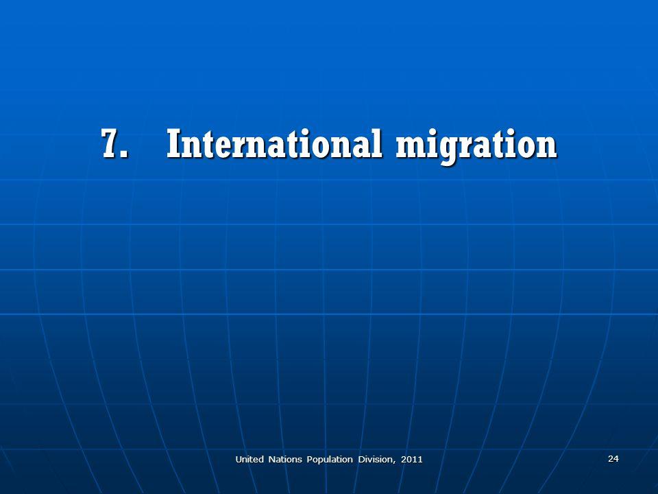 United Nations Population Division, 2011 24 7.International migration