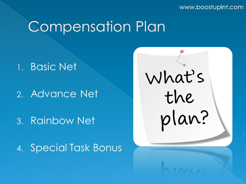 1. Basic Net 2. Advance Net 3. Rainbow Net 4. Special Task Bonus www.boostupint.com