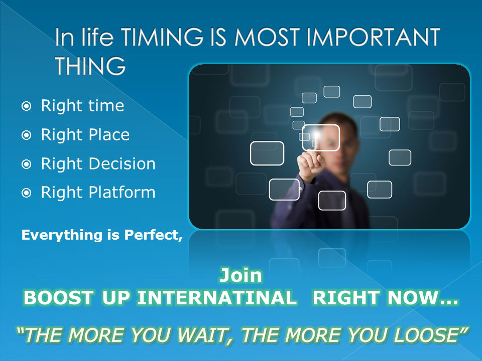  Right time  Right Place  Right Decision  Right Platform Everything is Perfect,