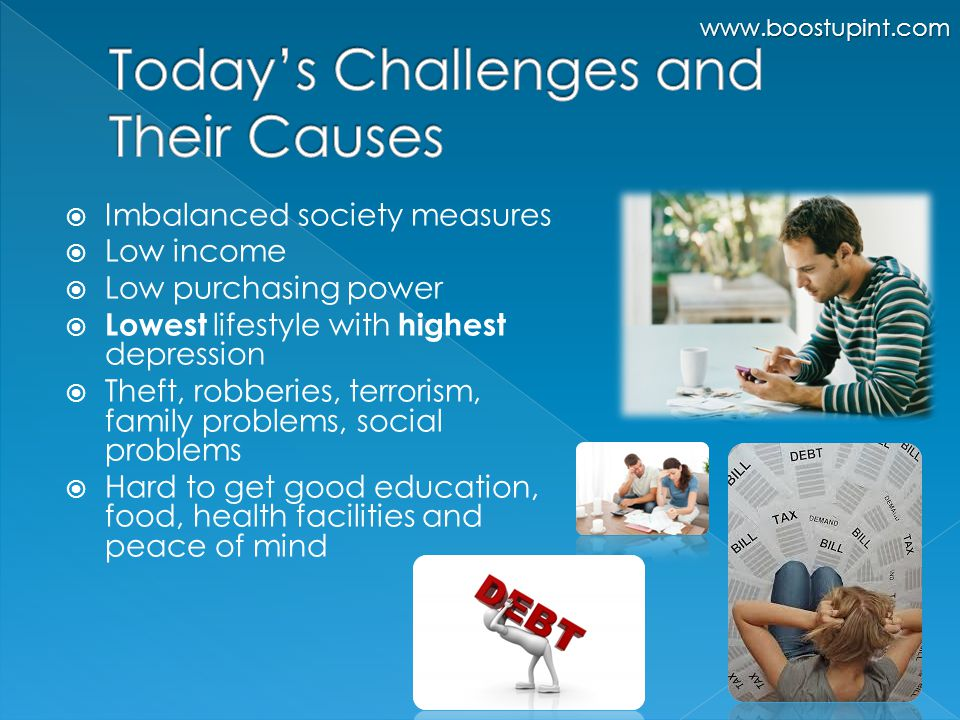  Imbalanced society measures  Low income  Low purchasing power  Lowest lifestyle with highest depression  Theft, robberies, terrorism, family problems, social problems  Hard to get good education, food, health facilities and peace of mind www.boostupint.com