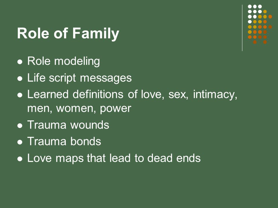 Role of Family Role modeling Life script messages Learned definitions of love, sex, intimacy, men, women, power Trauma wounds Trauma bonds Love maps that lead to dead ends