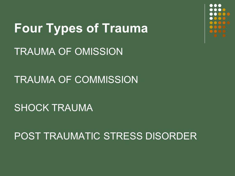 Four Types of Trauma TRAUMA OF OMISSION TRAUMA OF COMMISSION SHOCK TRAUMA POST TRAUMATIC STRESS DISORDER