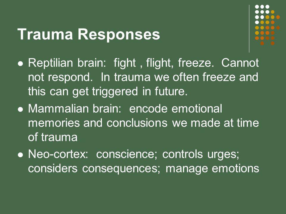 Trauma Responses Reptilian brain: fight, flight, freeze.