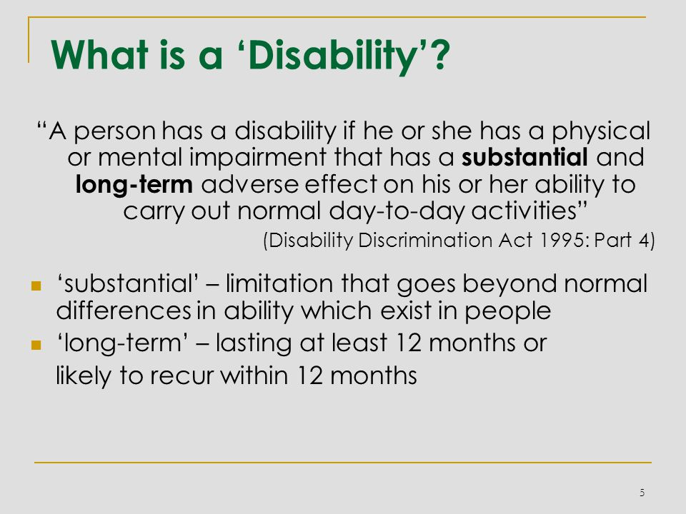 What is a 'Disability'.