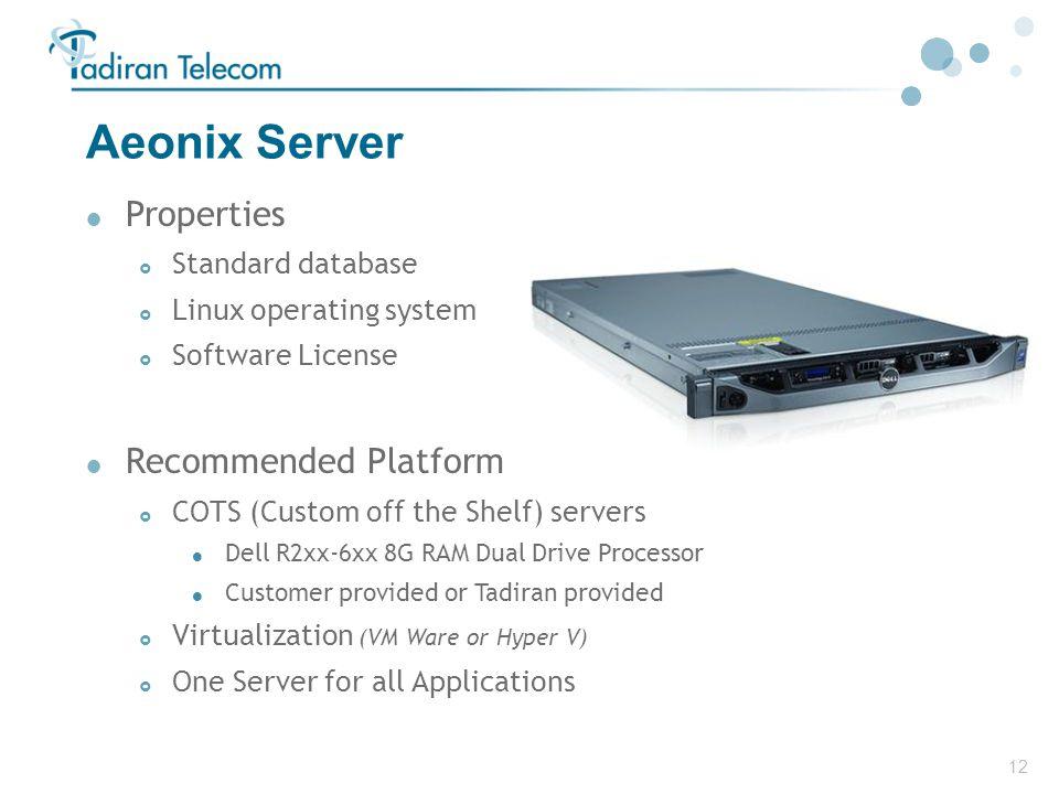 12 Aeonix Server  Properties  Standard database  Linux operating system  Software License  Recommended Platform  COTS (Custom off the Shelf) ser