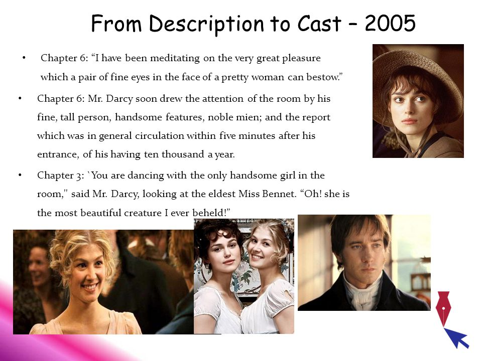 From Description to Cast – 2005 Chapter 6: I have been meditating on the very great pleasure which a pair of fine eyes in the face of a pretty woman can bestow. Chapter 6: Mr.