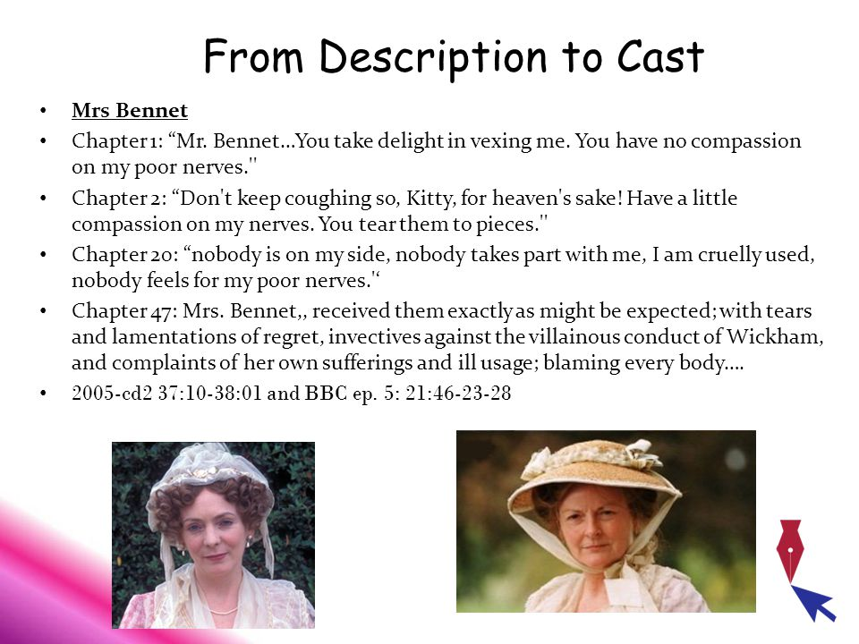 "From Description to Cast Mrs Bennet Chapter 1: ""Mr. Bennet…You take delight in vexing me. You have no compassion on my poor nerves.'' Chapter 2: ""Don'"