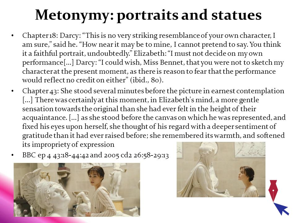"Metonymy: portraits and statues Chapter 18: Darcy: ""This is no very striking resemblance of your own character, I am sure,"" said he. ""How near it may"