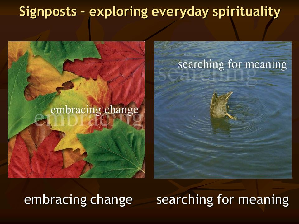 Signposts – exploring everyday spirituality embracing change searching for meaning embracing change searching for meaning