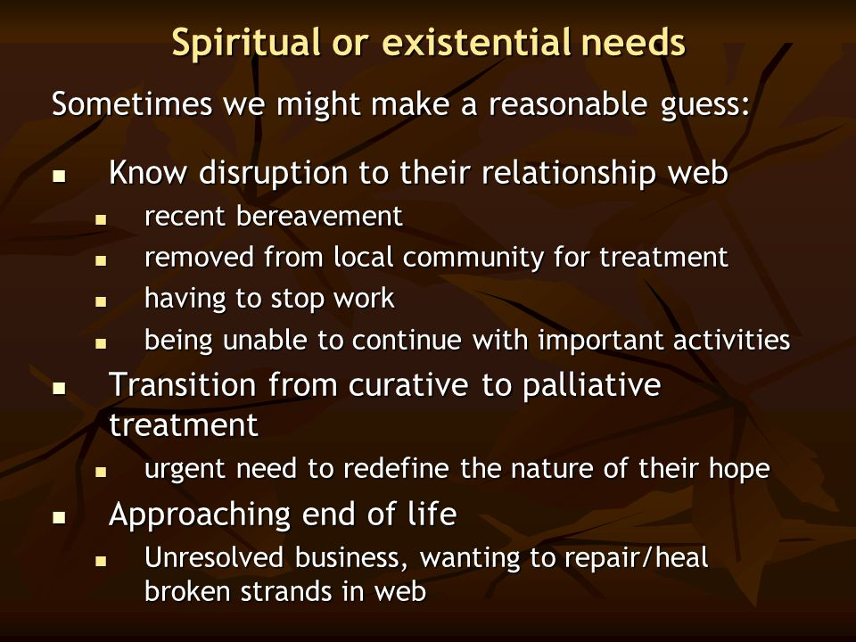 Spiritual or existential needs Sometimes we might make a reasonable guess: Know disruption to their relationship web Know disruption to their relation
