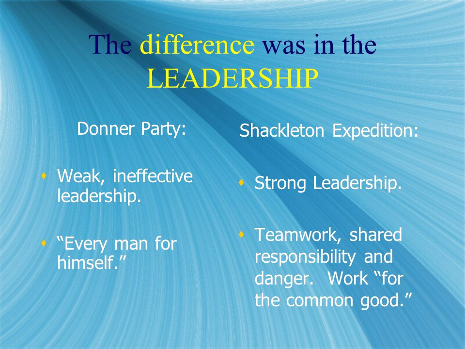 The difference was in the LEADERSHIP Donner Party:  Weak, ineffective leadership.