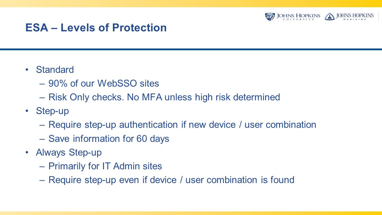 ESA – Levels of Protection Standard –90% of our WebSSO sites –Risk Only checks. No MFA unless high risk determined Step-up –Require step-up authentica