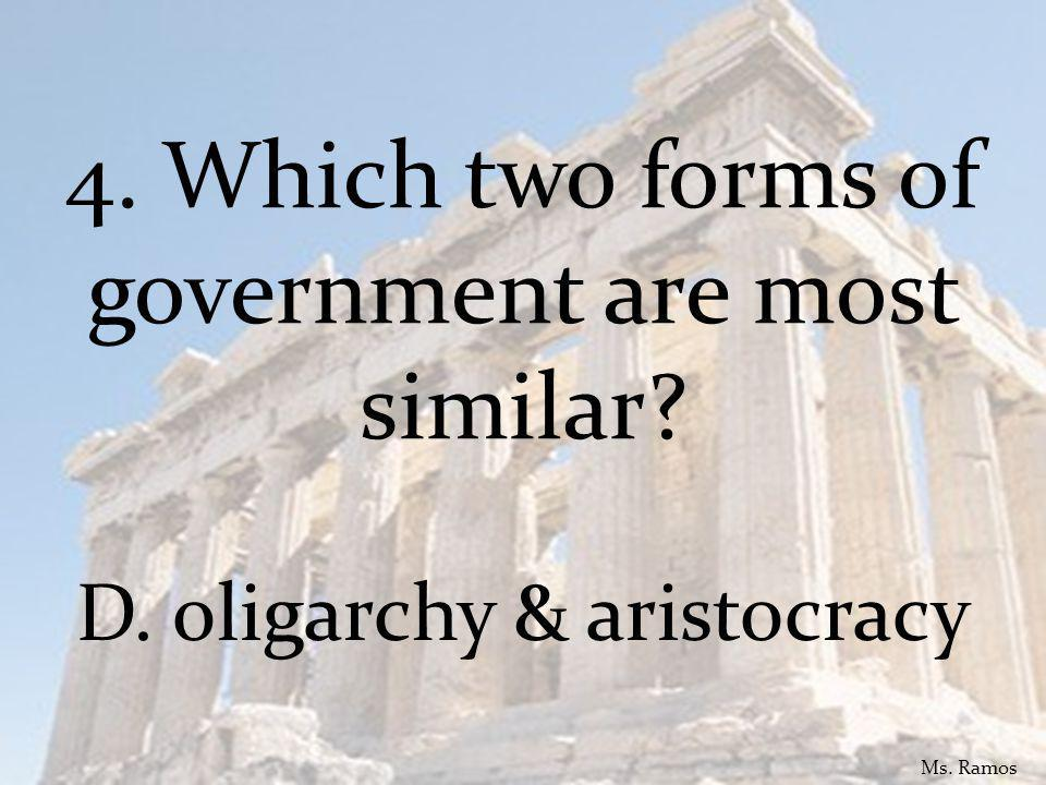4. Which two forms of government are most similar D. oligarchy & aristocracy Ms. Ramos