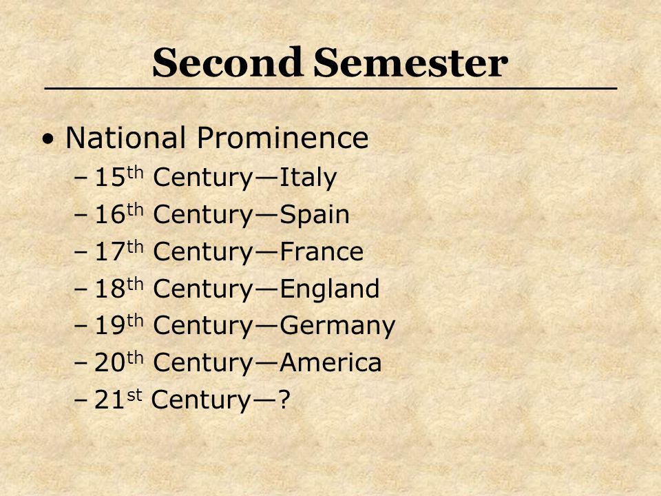 Second Semester National Prominence –15 th Century—Italy –16 th Century—Spain –17 th Century—France –18 th Century—England –19 th Century—Germany –20 th Century—America –21 st Century—?