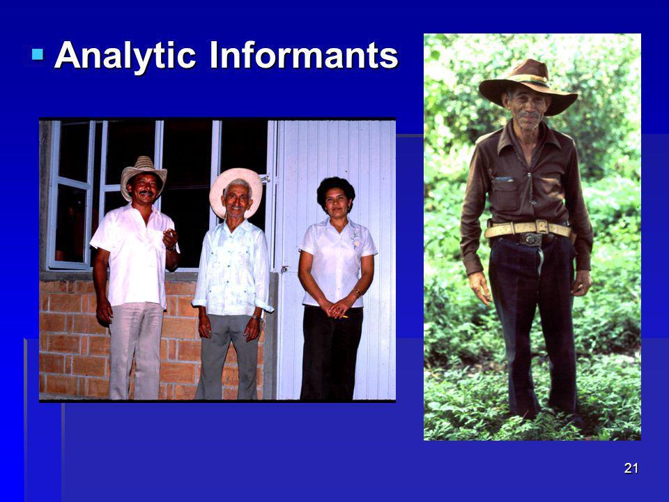 21  Analytic Informants