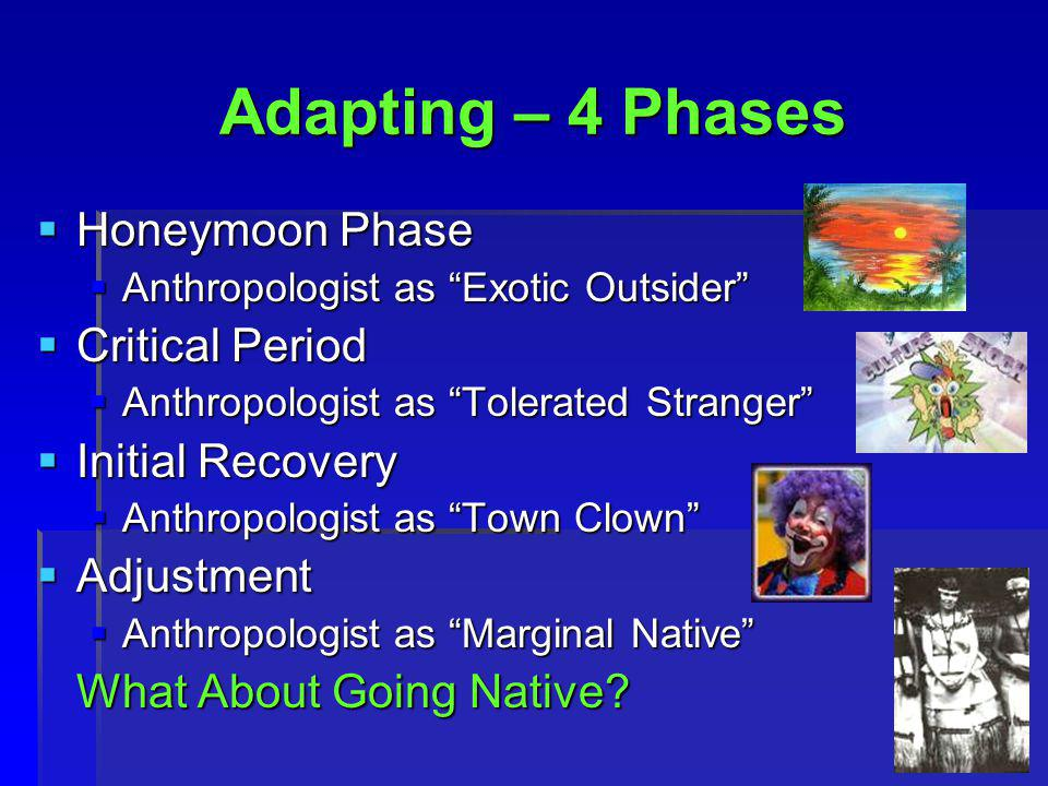 4 Adapting – 4 Phases  Honeymoon Phase  Anthropologist as Exotic Outsider  Critical Period  Anthropologist as Tolerated Stranger  Initial Recovery  Anthropologist as Town Clown  Adjustment  Anthropologist as Marginal Native What About Going Native