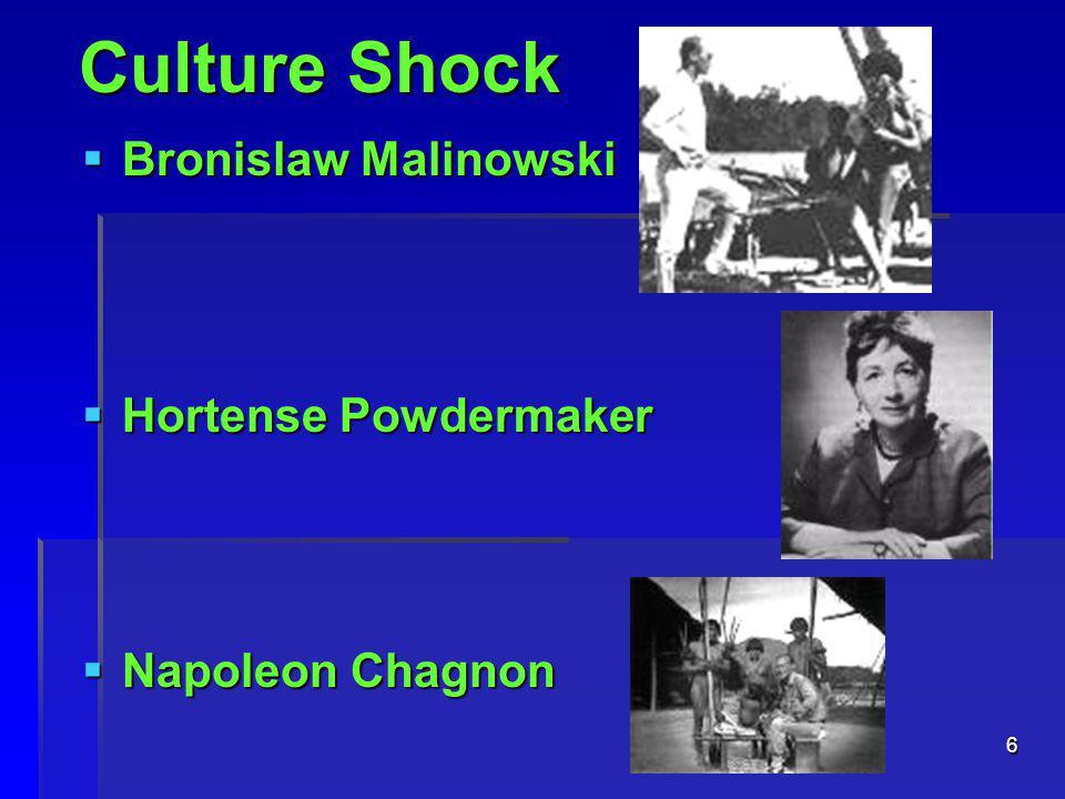 6  Bronislaw Malinowski  Hortense Powdermaker  Napoleon Chagnon Culture Shock