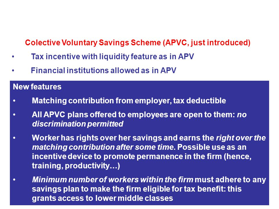 Colective Voluntary Savings Scheme (APVC, just introduced) Tax incentive with liquidity feature as in APV Financial institutions allowed as in APV 2.