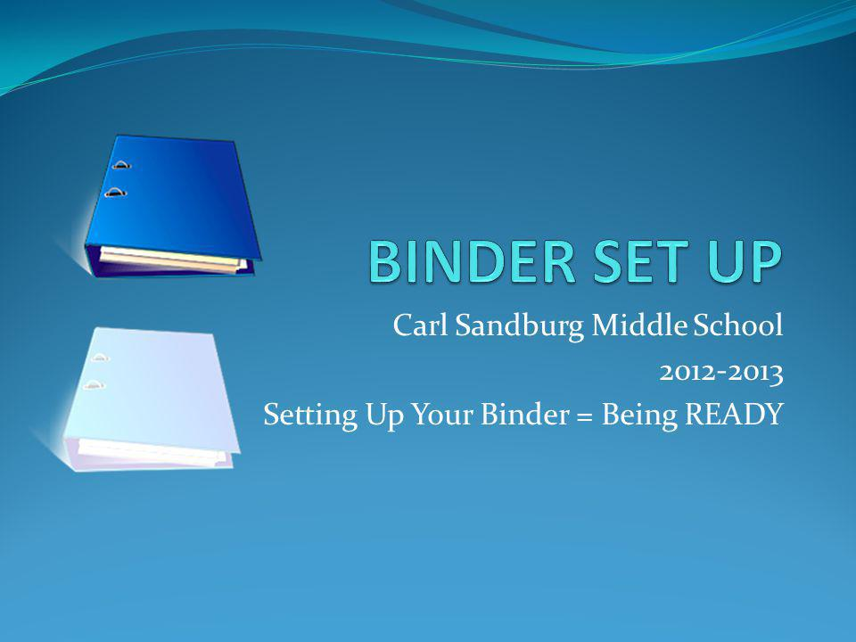 Carl Sandburg Middle School 2012-2013 Setting Up Your Binder = Being READY