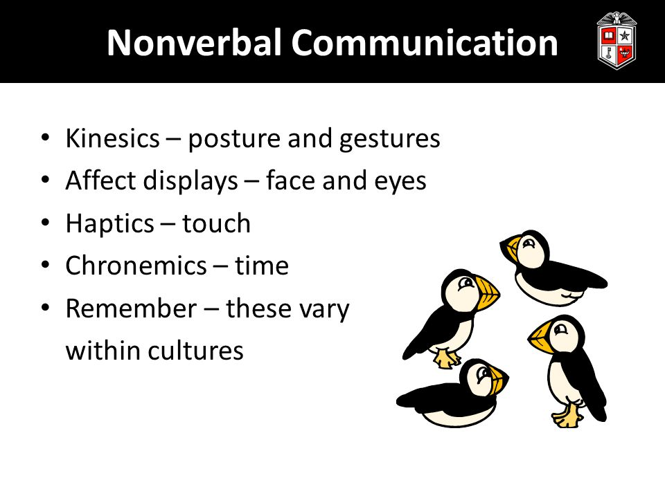 Nonverbal Communication Kinesics – posture and gestures Affect displays – face and eyes Haptics – touch Chronemics – time Remember – these vary within