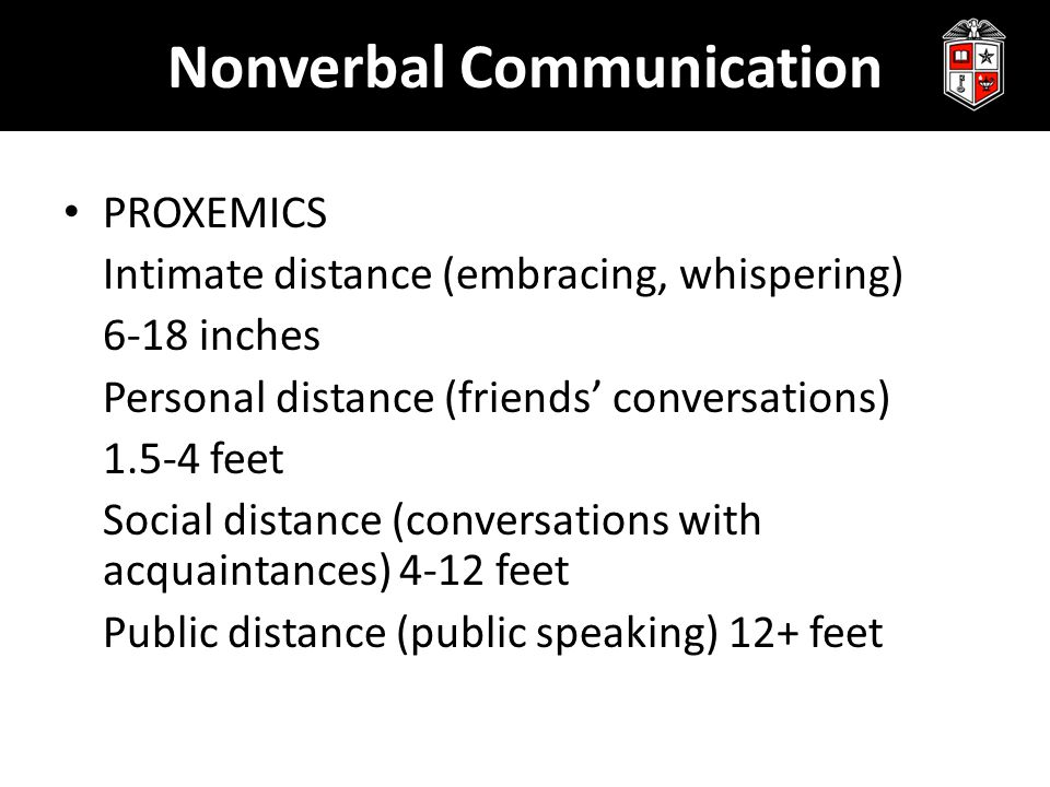 Nonverbal Communication PROXEMICS Intimate distance (embracing, whispering) 6-18 inches Personal distance (friends' conversations) 1.5-4 feet Social d