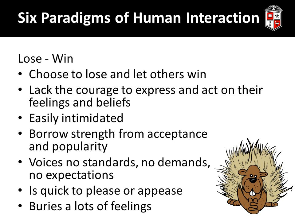 Lose - Win Choose to lose and let others win Lack the courage to express and act on their feelings and beliefs Easily intimidated Borrow strength from acceptance and popularity Voices no standards, no demands, no expectations Is quick to please or appease Buries a lots of feelings Six Paradigms of Human Interaction
