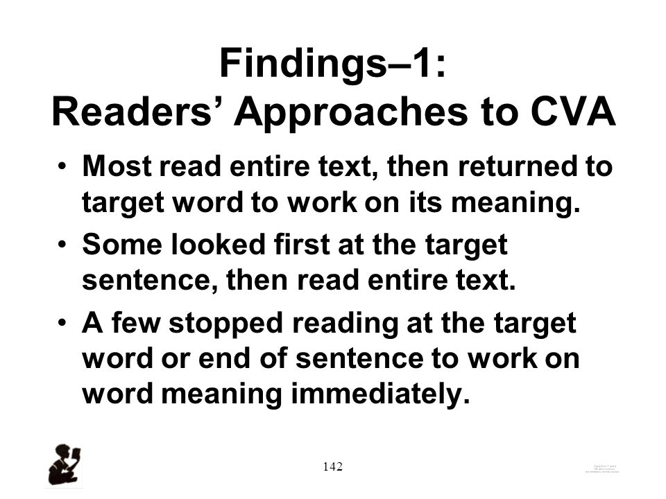 141 Overview of Four Sets of Findings 1.Approaches to CVA.