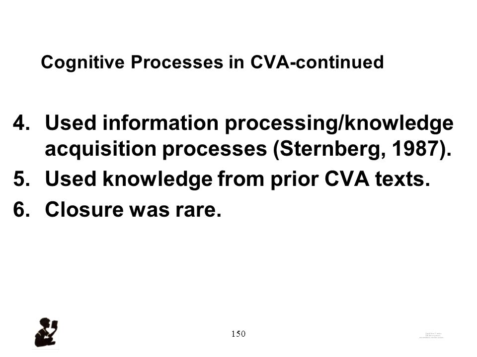 149 Findings-3: Cognitive Processes in CVA 1.Generated hypothesis / built model.