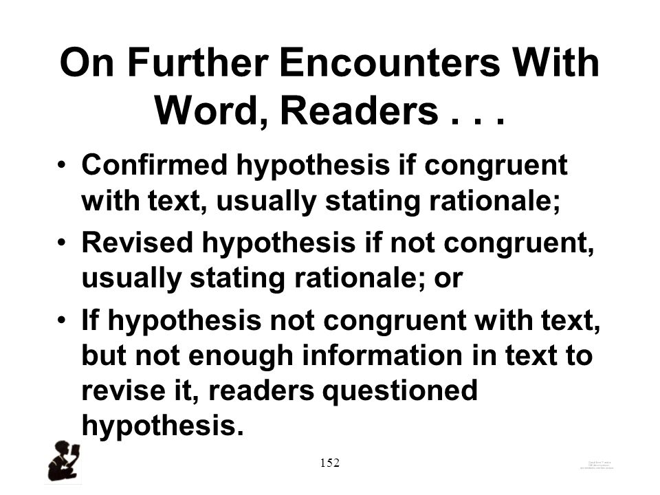 151 CVA Cognitive Processes–1: Hypothesis / Model Building All readers hypothesized a meaning of the hard word.