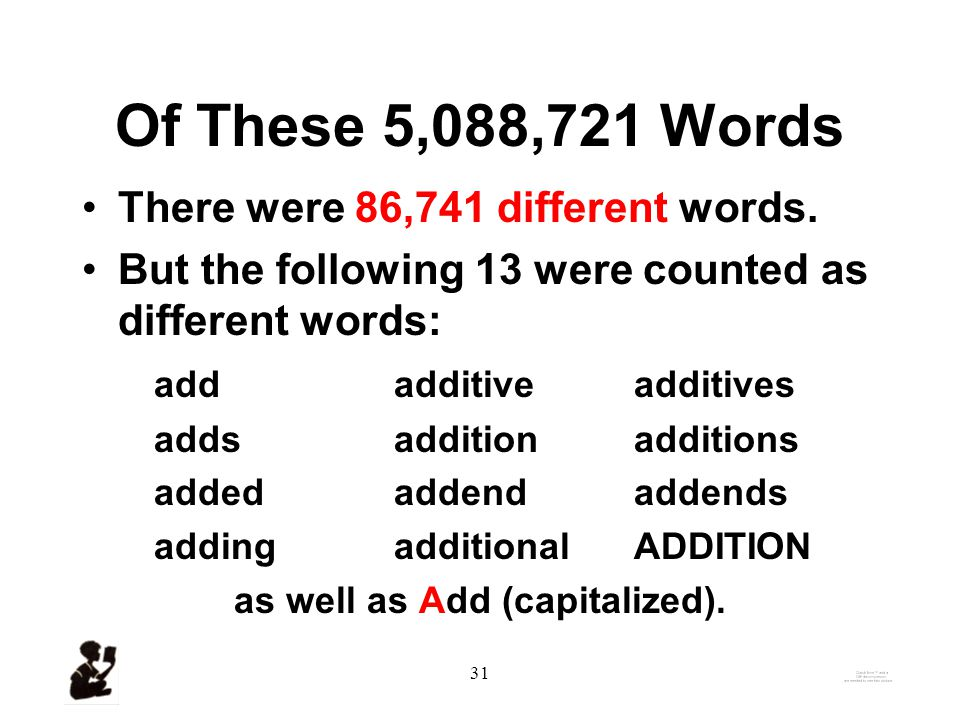 30 A Brief Background on the Counting of Words Carroll, Davies, Richman (1971), The American Heritage Word Frequency Book–called the WFI.