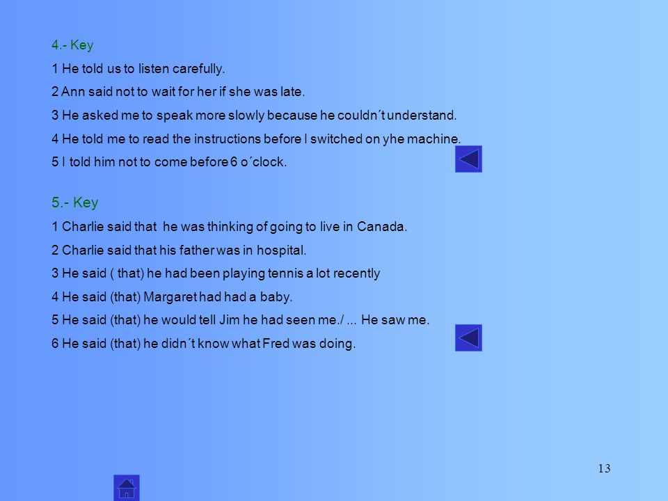 12 1 I´m thinking of going to live in Canada. 2 My father is in hospital. 4 Margaret has had a baby. 5 I´ll tell Jim I saw you. 3 I´ve been playing te