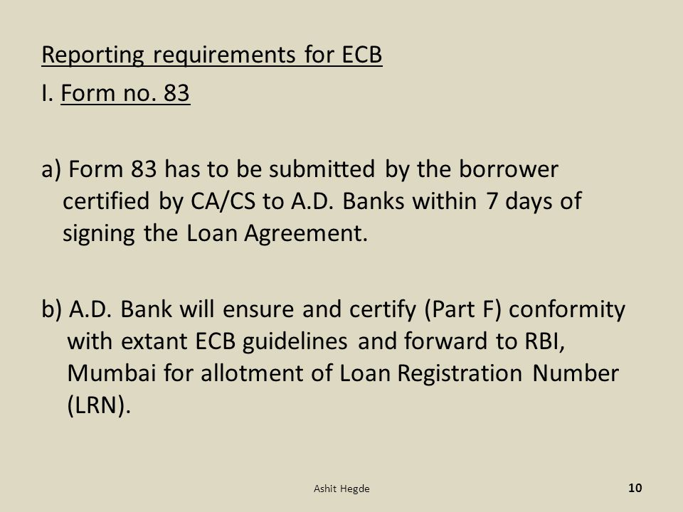 Reporting requirements for ECB I. Form no.