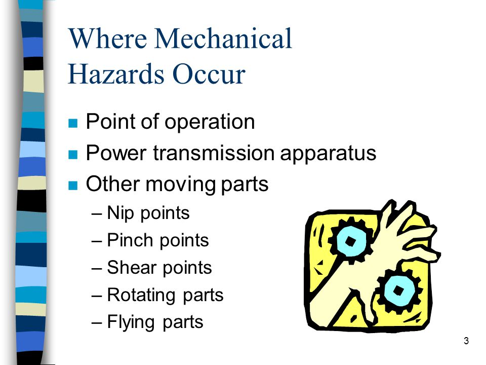 3 Where Mechanical Hazards Occur n Point of operation n Power transmission apparatus n Other moving parts –Nip points –Pinch points –Shear points –Rot