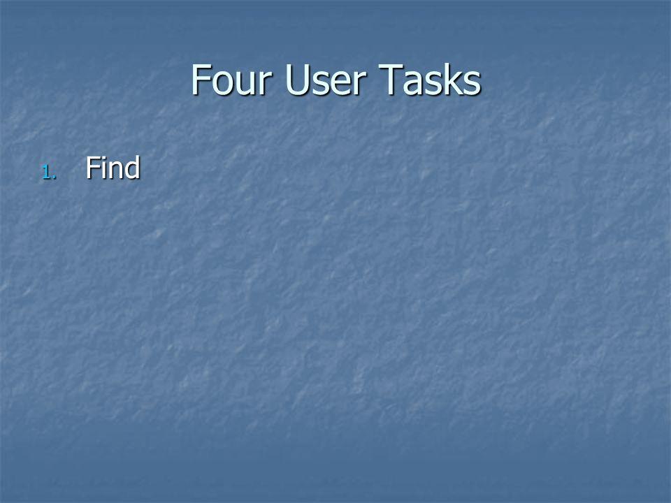 Four User Tasks 1. Find