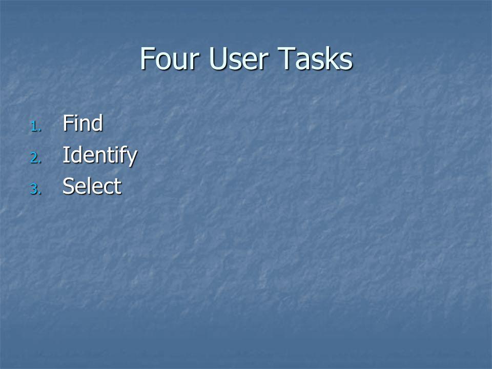 Four User Tasks 1. Find 2. Identify 3. Select