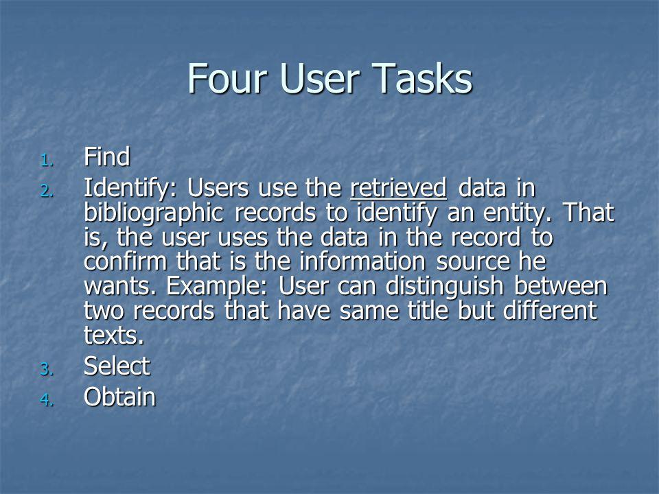 Four User Tasks 1. Find 2.
