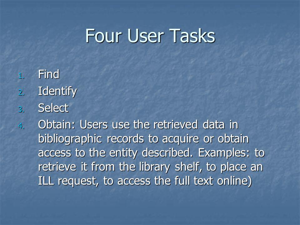 Four User Tasks 1. Find 2. Identify 3. Select 4.