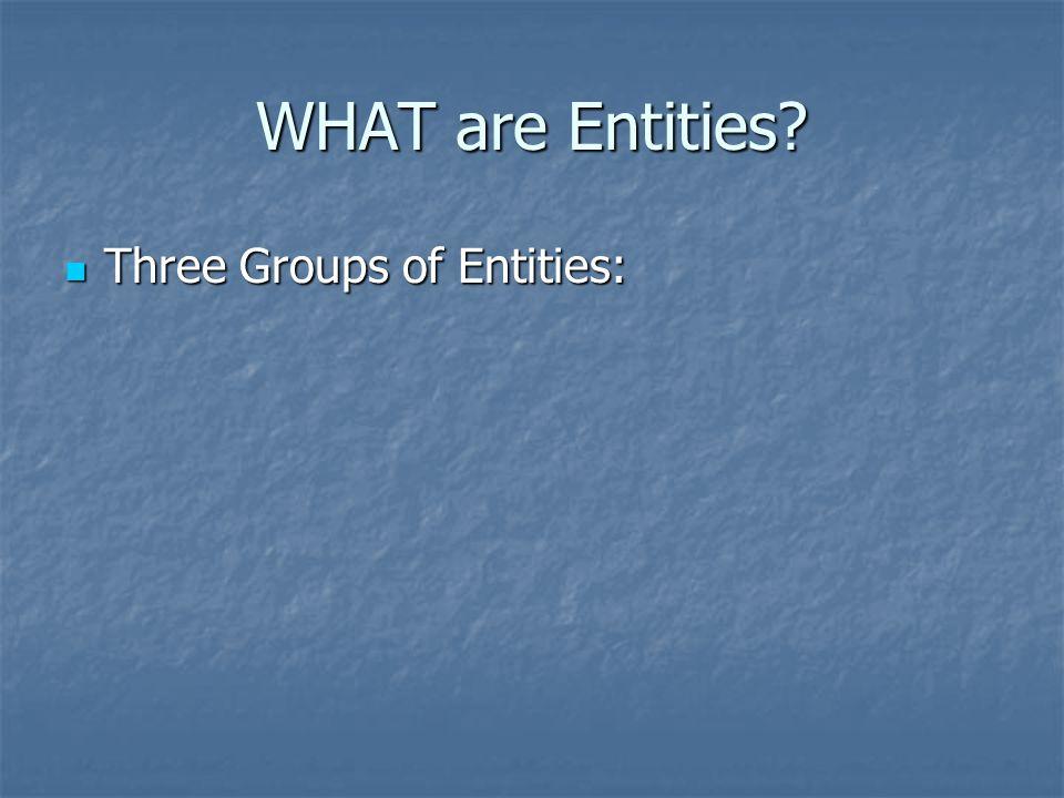 Three Groups of Entities: Three Groups of Entities: